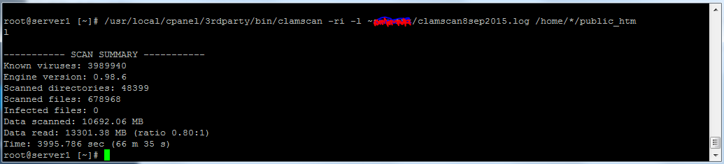 Clamscan linux server