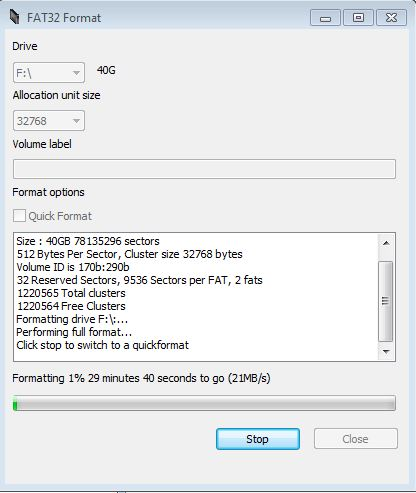 Format external hard drive FAT32