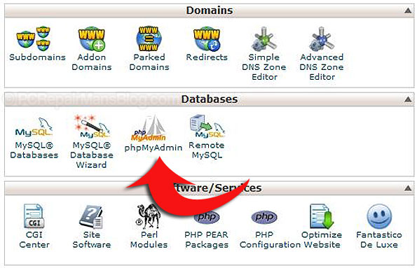 php myadmin wordpress backup